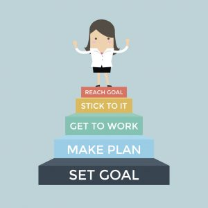 Businesswoman going up to success, Set and reach goal concept